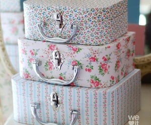 pink, suitcases, and vintage image