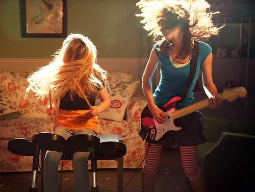 girls, photography, and rock band image