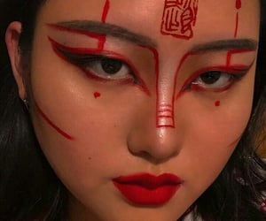 red, asian, and girl image