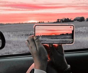 nature, sunset, and car image