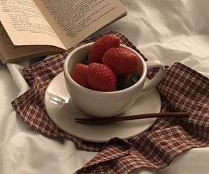 strawberry, aesthetic, and book image