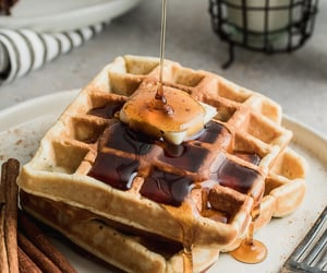 food, waffles, and foodporn image