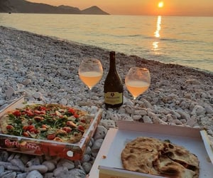 sunset, pizza, and beach image