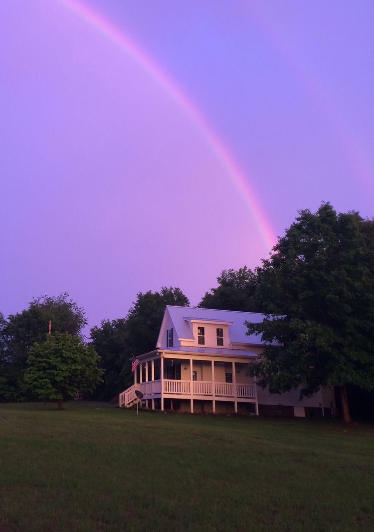 rainbow, purple, and house image