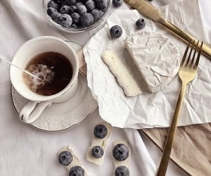 coffee, blueberries, and breakfast image