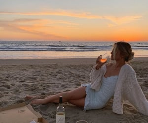 beach, pizza, and sunset image