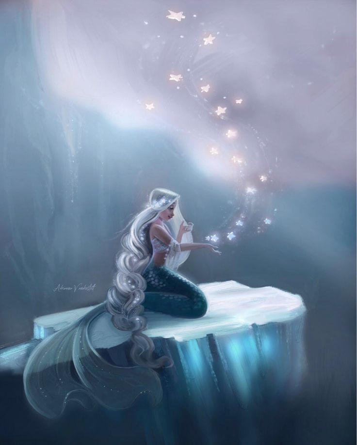ice, mermaid, and mythical creature image