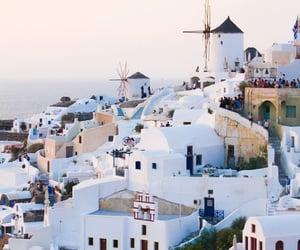 beach, blue sea, and greek island image