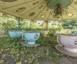 alice in wonderland, carousel, and vines image