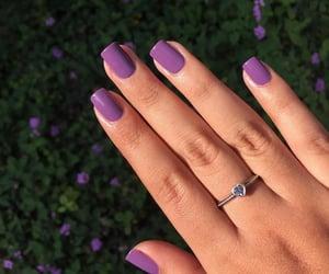 beauty, nail polish, and purple flowers image