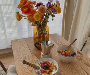 breakfast, flowers, and morning image
