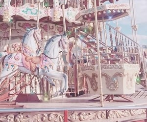 pink, carousel, and wallpaper image
