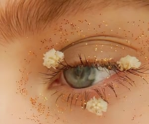 eyes, flowers, and glitter image