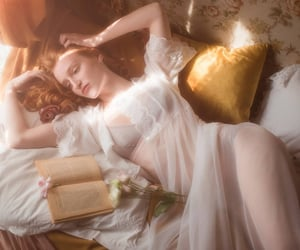 bed, book, and ethereal image