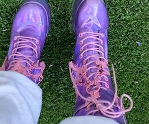 ariana grande, purple, and rain on me image
