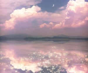 clouds, ocean, and pink image