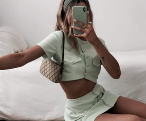 fashion, green, and outfit image