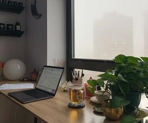 desk, motivation, and foggy day image