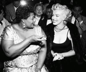 Marilyn Monroe, ella fitzgerald, and black and white image