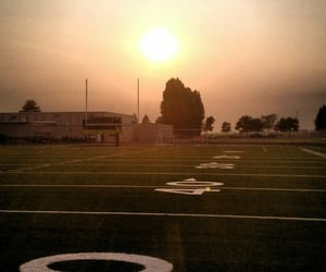 field, sunset, and high school image