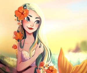 girl, mermaid, and mythical creature image