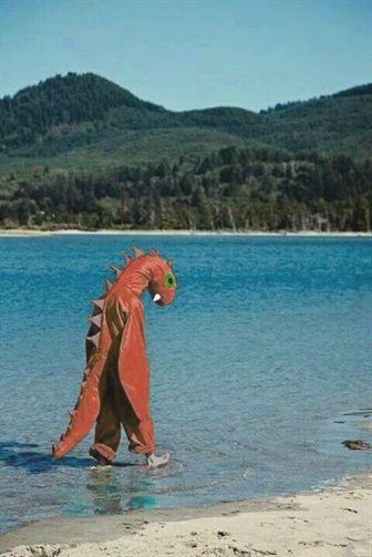 aesthetic, beach, and dinosaur image