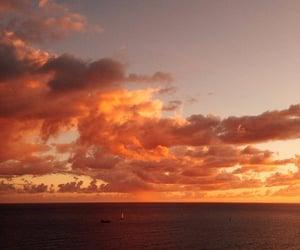 clouds, sky, and orange image
