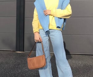 knitwear, yellow sweater, and white sneakers image