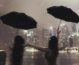 city, rain, and friends image