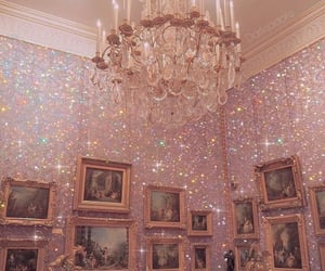pink, chandelier, and art image