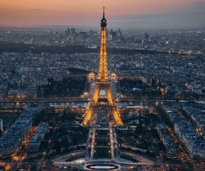 city, citylights, and eiffel tower image