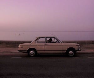 car, sky, and pink image