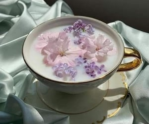 drink, tea, and flowers image