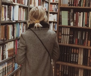 bag, blonde, and book image