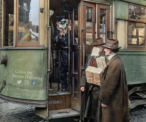 historical picture, street car conductor, and spanish flu pandemic image