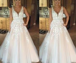 champagne prom dress, vestido de longo, and beaded prom dresses image