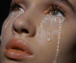 crying, girl, and red image
