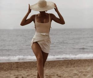 girl, beach, and hat image