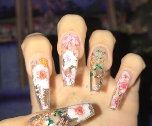 nails, acrylic, and clear nails image
