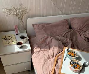 bedroom, breakfast, and cat image