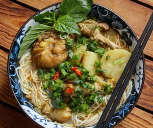 noodles, noodle soup, and vietnamese food image