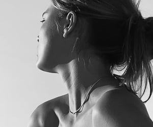black and white, collar bones, and girl image