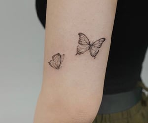 asian, black and white, and butterfly image