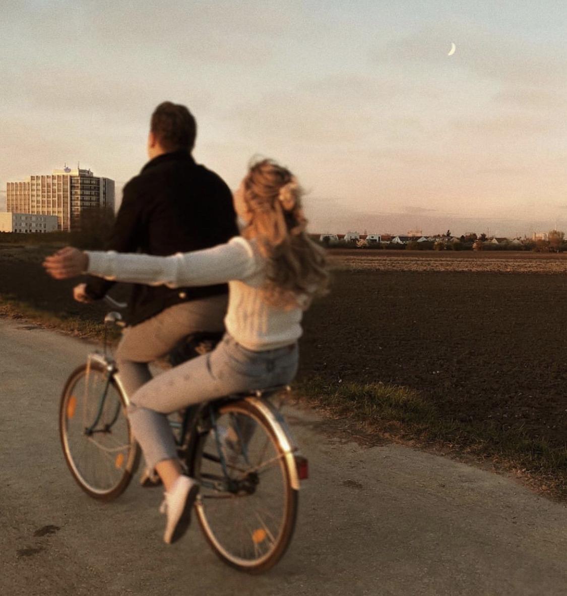 couple, bike, and love image