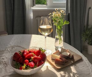 bright, strawberries, and cozy image
