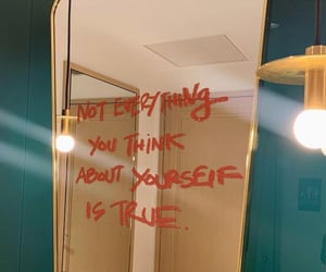mirror, blue, and quotes image
