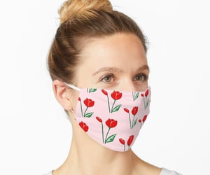 face mask, tulips, and floral image