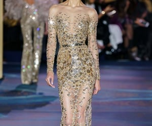 Couture, fashion show, and gold dress image