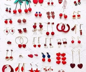 colorful, earrings, and red image