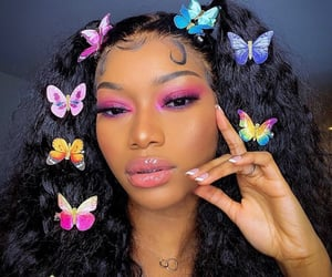 beauty, butterfly, and hair image